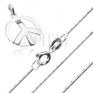 Strieborný 925 náhrdelník - hranatá retiazka a symbol mieru