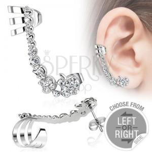 Falošný piercing do ucha z ocele, línia čírych zirkónových jabĺčok