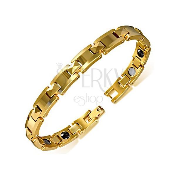 Tungstenový náramok zlatej farby - lesklé