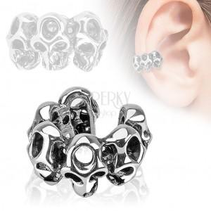 Falošný piercing do ucha, lebky, ródiovaný povrch