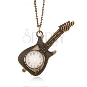 Retiazka s hodinkami - ozdobne patinovaná elektrická gitara, ručičky striebornej farby