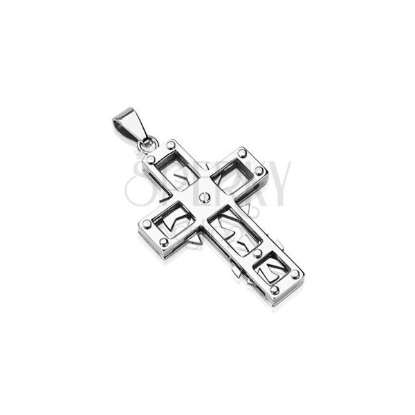 Prívesok z chirurgickej ocele - kríž s kolieskami