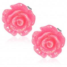 Trblietavý ružový kvet, oceľové náušnice