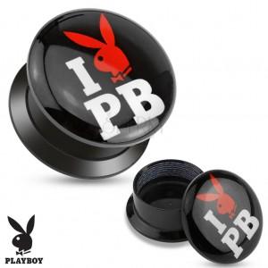 Čierny šrubovací plug z akrylu - I love Playboy