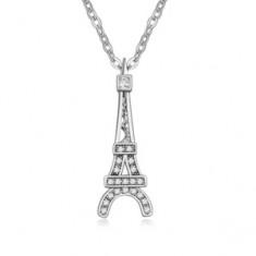 Lesklý náhrdelník s príveskom Eiffelovej veže, číre kamienky