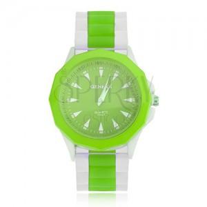 Analógové hodinky zeleno-bielej farby, zelený ciferník, silikónový remienok