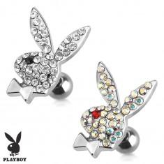 Oceľový piercing do tragusu, zirkónový zajac Playboy