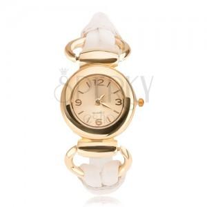 Náramkové hodinky - ciferník zlatej farby, lesklý biely ozdobný remienok