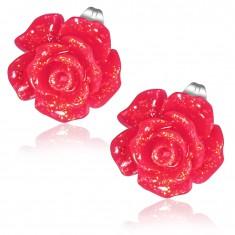 Oceľové náušnice, trblietavý červený kvet ruže