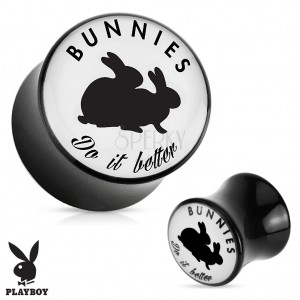 "Čierny sedlový plug do ucha z akrylu "" Bunnies do it better"""