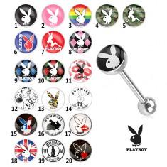 Oceľový piercing do jazyka - rôzne motívy Playboy