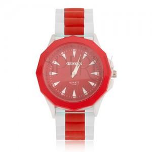 Náramkové hodinky, červený ciferník, silikónový bielo-červený remienok