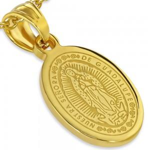 Oceľový medailón zlatej farby, nanebovzatie Panny Márie, 13 x 19 mm