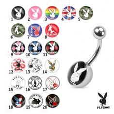 Oceľový piercing do bruška, farebné obrázky zajačikov Playboy