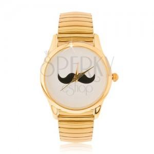Analógové hodinky zlatej farby z ocele, rozťahovací remienok, fúziky