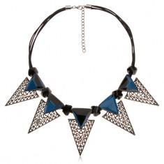 Náhrdelník, mohutné trojuholníkové ozdoby, čierne nepravidelné valčeky, modré zirkóny
