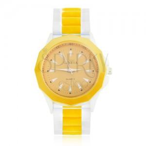 Analógové hodinky žlto-bielej farby, žltý ciferník, silikónový remienok