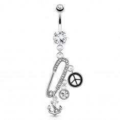 Oceľový piercing do pupka - zatvárací špendlík, kotva, znak mieru, zirkóny