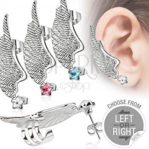 Fake piercing do ucha z ocele - krídlo a farebná zirkónová hviezda