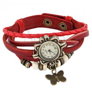 Náramkové hodinky, ozdobne vyrezávané, červený pletený remienok, korálky