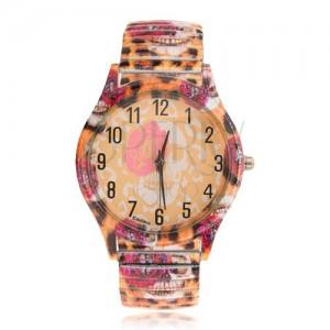 Analógové hodinky z ocele, rozťahovací remienok, leopardí vzor, ruža, lebka