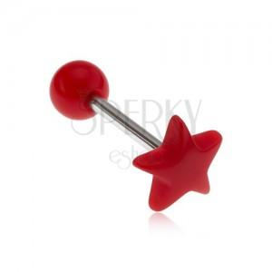 Piercing do jazyka, lesklá červená hviezda