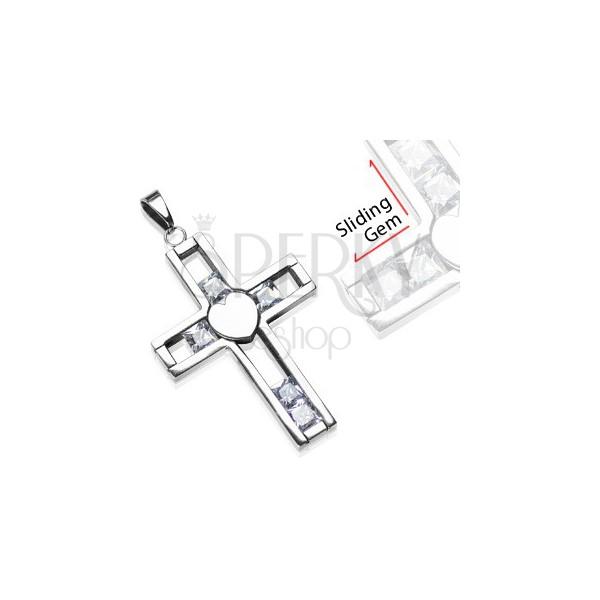 Prívesok z chirurgickej ocele - kríž s posuvnými klenotmi