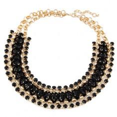 Mohutný náhrdelník - okrúhle očká zlatej farby, čierne kamienky a šnúrka