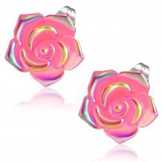 Oceľové náušnice, ružový kvet zo živice s dúhovým odleskom