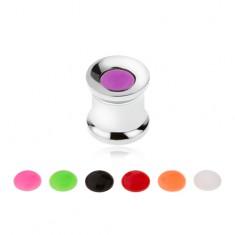 Oceľový tunel plug do ucha, vymeniteľné farebné krúžky, 8 mm