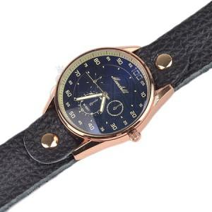 Náramkové hodinky - veľký tmavomodrý ciferník, čierny koženkový remienok