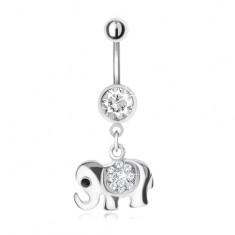 Oceľový piercing do brucha s príveskom sloníka, číre kamienky