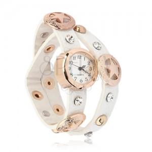 Náramkové hodinky zlatej farby, biely vybíjaný remienok, hviezdy