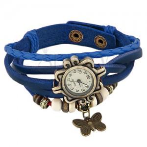 Analógové hodinky - tmavomodrý zapletaný remienok, ozdobný ciferník