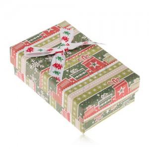 Krabička na náušnice a prsteň, zeleno-červený vianočný motív, ozdobná mašľa