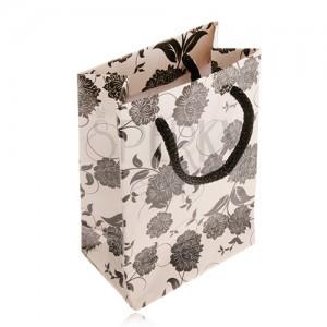 Darčeková taštička na šperk béžovej farby, čierne kvety, šnúrka