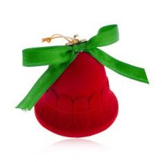 Šperky eshop - Zamatová krabička na šperk, červený zvonček, lesklá zelená mašlička Y27.3