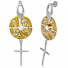 Dvojfarebné náušnice z ocele - vyrezávaný kruh, kríž, číre zirkóny