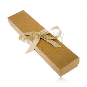 Trblietavá krabička zlatej farby na náramok, lesklá stuha
