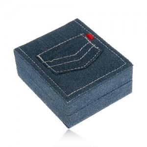 Darčeková krabička na šperk, modrá rifľovina, vrecko