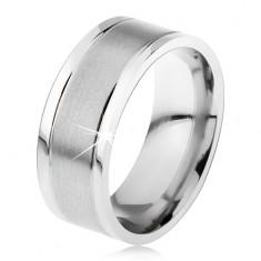 Oceľový prsteň, lesklé okraje, zárezy, saténový stredový pás