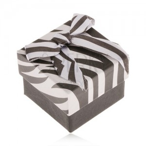 Darčeková krabička na prsteň, čierno-biela zebra, lesklá mašľa