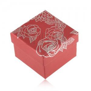 Červená krabička na šperk, motív kvetov striebornej farby