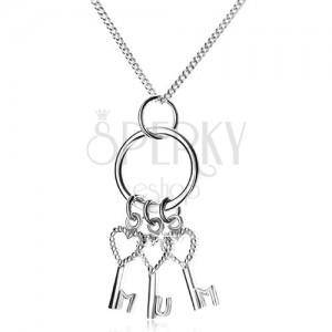 Strieborný 925 náhrdelník - retiazka a tri kľúčiky na krúžku, MUM