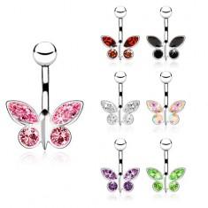 Piercing z ocele do pupku, zirkónový motýľ - rôzne farby