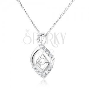 Strieborný 925 náhrdelník - retiazka a zatočená zirkónová slza, matka a dieťa