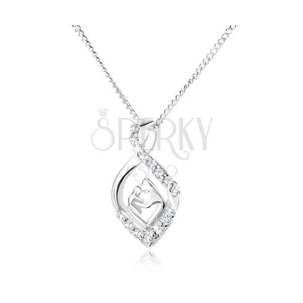 1f414cdef Strieborný 925 náhrdelník - retiazka a zatočená zirkónová slza, matka a  dieťa ...