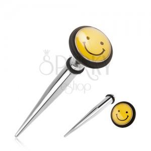 Oceľový fake expander do ucha, žltý smajlík