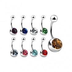 Piercing do pupku z ocele so zirkónom, rôzne farby