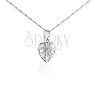 Náhrdelník zo striebra 925 - retiazka a prívesok, vyrezávané srdce